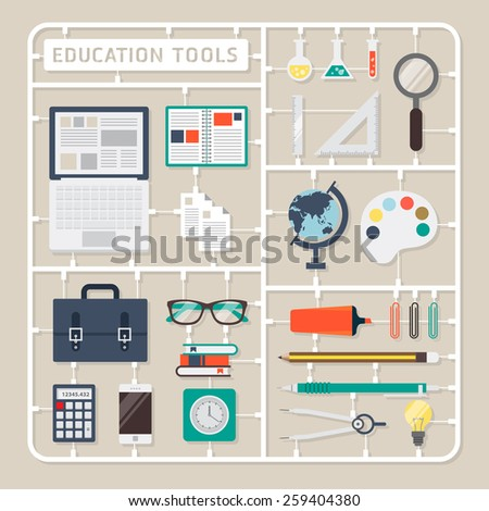 Creative thinking vector flat design model kits for education tools. - stock vector