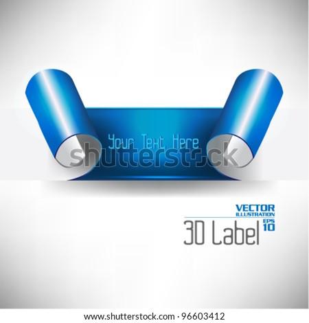 creative three dimensional label vector design - stock vector