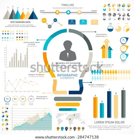 Creative timeline infographic elements with statistical graphs, charts and illustration of light bulb for idea concept. - stock vector