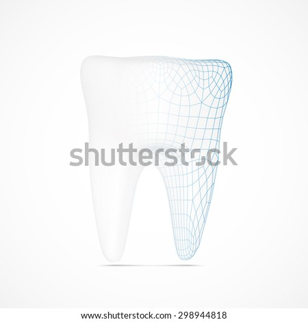 Creative tooth symbol with wireframe structure. Eps10 vector for your design - stock vector