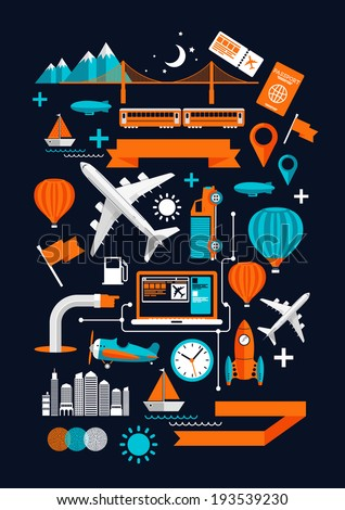 Creative Transport Elements. Creative flat vector illustration with various transport & travel symbols. - stock vector