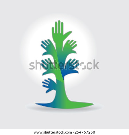 creative tree of hands appeal green environment - stock vector