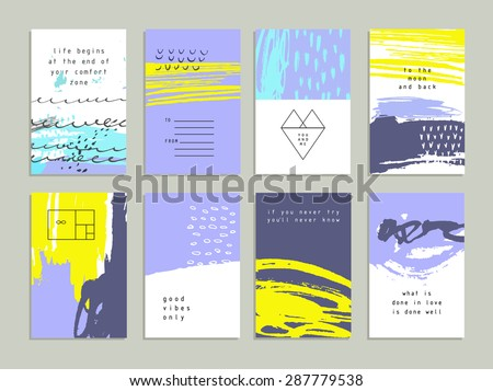 Creative trendy cards. Abstract painting templates with hipster logotypes. Handmade texture. Wedding, marriage, bridal, birthday, Valentine's day. Isolated  - stock vector
