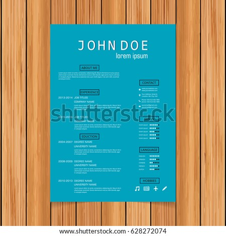stock vector creative turquoise color resume template blue colorful templates microsoft word theme