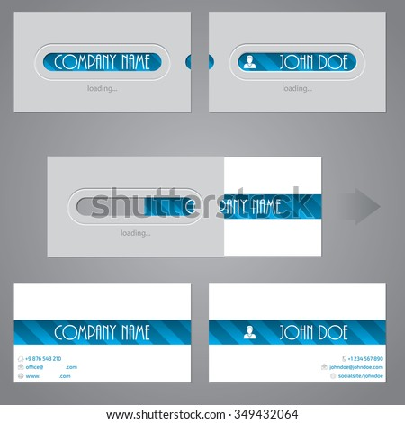 Creative two piece business card design with loading theme - stock vector