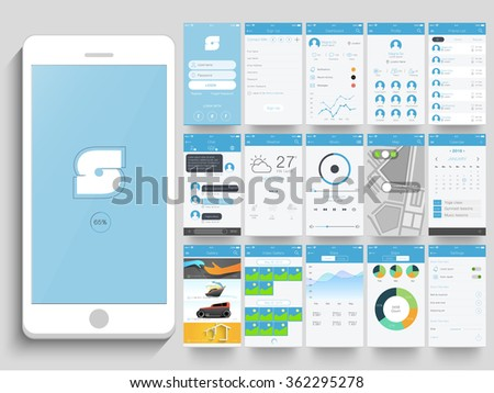 Creative UI, UX, GUI layout for e-commerce, responsive website and mobile apps including Login, Sign-up, Dashboard, Profile, Chat, Weather, Music, Calendar, Video Gallery, Stats and Setting screen.  - stock vector