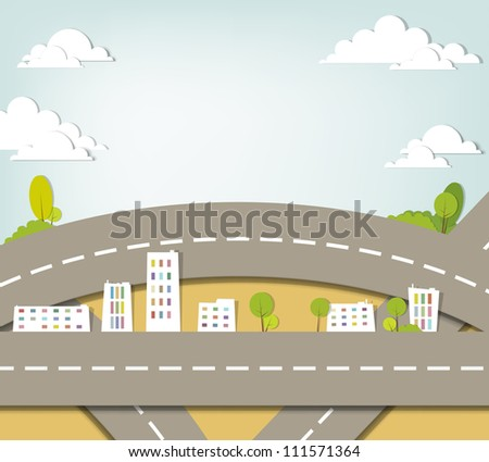 creative urban landscape. vector applique. - stock vector