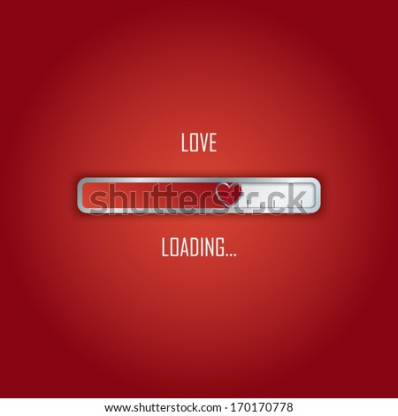 Creative Valentine's day card concept design with loading bar and heart. Eps10 vector illustration. - stock vector