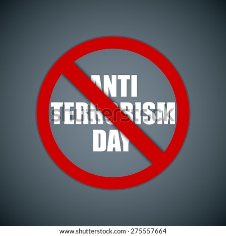 Creative vector abstract for Anti Terrorism Day with red block circle in a creative grey colour background. - stock vector