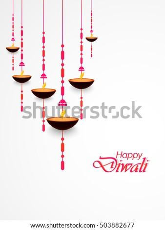 Creative Vector Abstract For Diwali Hanging Lantern With Colourful Design Illustration In A Beautiful Background