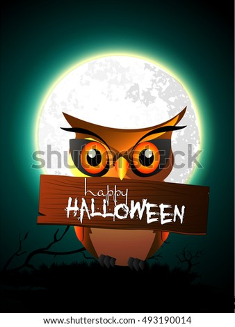 creative vector abstract for Happy Halloween with nice and beautiful Owl design illustration in a background.