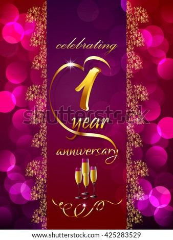 Creative Vector Abstract For 1st Anniversary Celebration With Illustration In A Textured Background