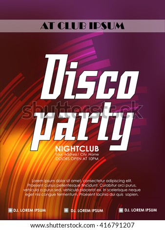 creative vector abstract or flyer for Disco Party with nice and creative illustration in a textured background.
