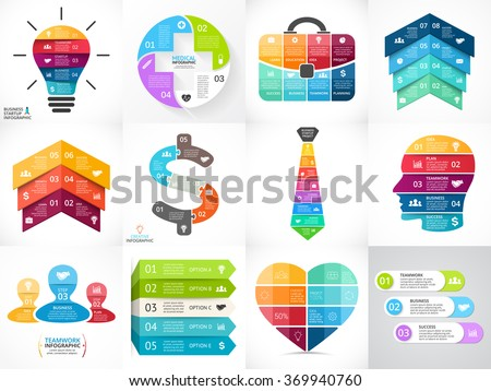Creative vector arrows infographics set, diagrams, graphs, charts. 3, 4, 5, 6, 7, 8 cycle options, parts, steps. Human head, idea light bulb, plus sign, businessman bag, tie, heart, stairs infographic - stock vector