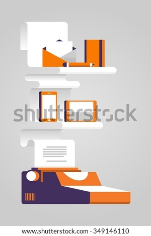 creative vector background with retro typewriter and modern elements - stock vector