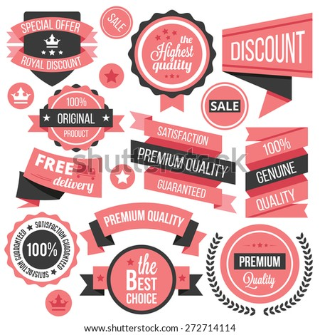 Creative vector badges, labels and ribbons set. Colorful vector illustration. Isolated on white background - stock vector