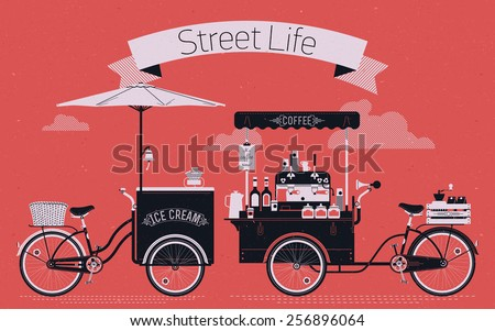 Creative vector detailed graphic design on street life with coffee and ice cream vending bicycle carts with espresso machine, sirup bottles, disposable cups and more. Subtle rough paper texture - stock vector