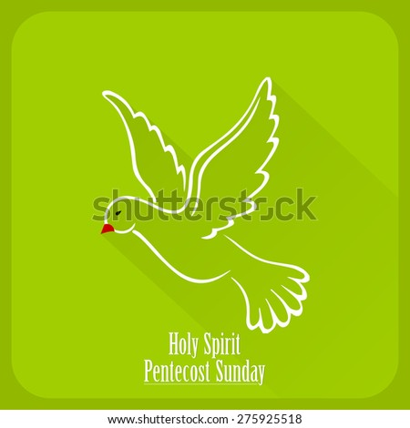 Creative vector illustration for Pentecost Sunday with nice pigeon illustration as a holy spirit in a creative and crisp green color background. - stock vector