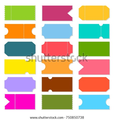 Creative vector illustration of blank shapes of tickets isolated on background. Art design templates for movie, cinema, concert, events, sports, theatre, party. Abstract concept graphic element.