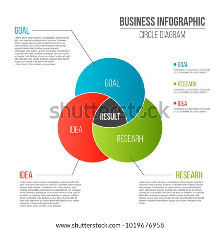 Creative vector illustration of business presentation slide template circle venn diagram isolated on transparent background. Art design infographic diagram chart. Abstract concept graphic element