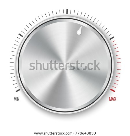 Creative vector illustration of dial knob level technology settings, music metal button with circular processing isolated on background. Sound control. Art design. Abstract concept graphic element.