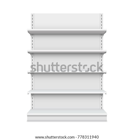 Creative vector illustration of empty store shelves isolated on background. Retail shelf art design. Abstract concept graphic showcase display element. Supermarket product advertising blank mockup.