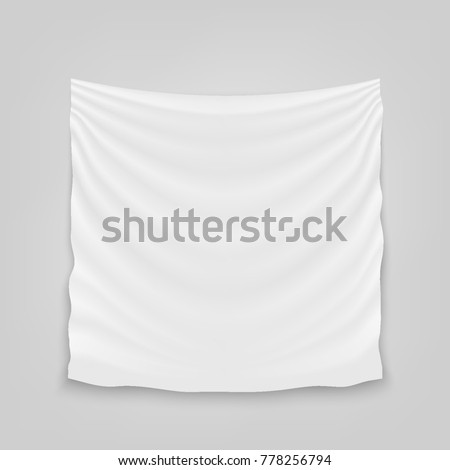 Creative vector illustration of hanging empty white cloth isolated on background. Art design banner fabric textile with shadow. Blank flag. Abstract concept graphic element.