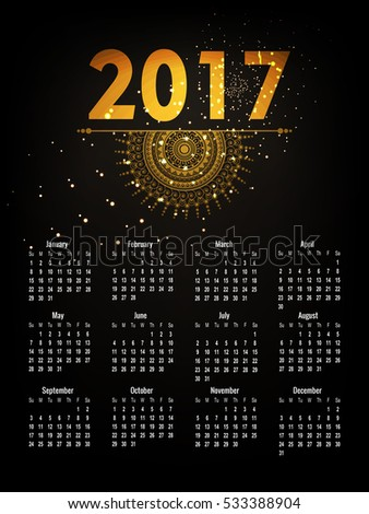 Creative Vector Illustration of 2017 new year Calendar with golden floral design and golden lettering composition of  complete 12 months set best for calendar printing and website