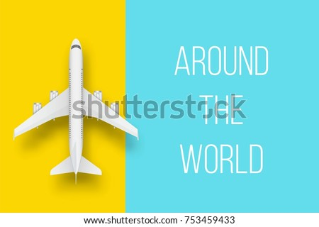 Creative vector illustration of plane isolated on colorful background. Top view airplane. Travel art design of summer vacation. Copy space for you presentation. Abstract concept graphic element.