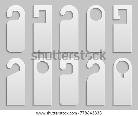 Creative vector illustration of realistic plastic paper door handle lock hangers set isolated on background. Art design empty blank mockup. For text - do not Disturb. Abstract concept graphic element.