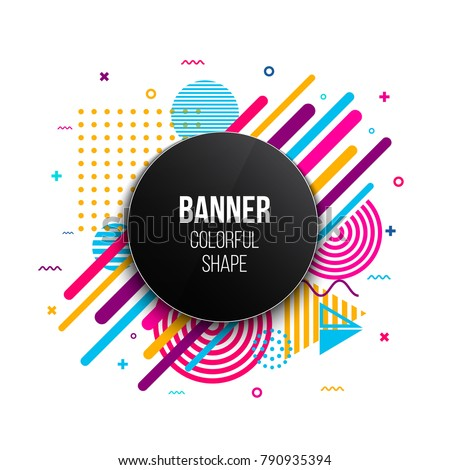 Creative vector illustration of trendy geometric flat banner frame isolated on background. Art design for brochure, cover, template, decorated, flyer, presentations. Abstract concept graphic element.
