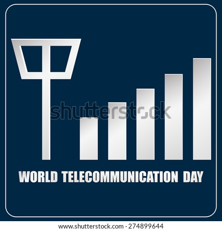 Creative vector illustration of World Telecommunication Day with tower signal in a dark blue colour background. - stock vector