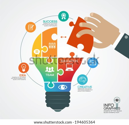Creative vector template with a light bulb, puzzles, human hand and icons. Concept business ideas. - stock vector