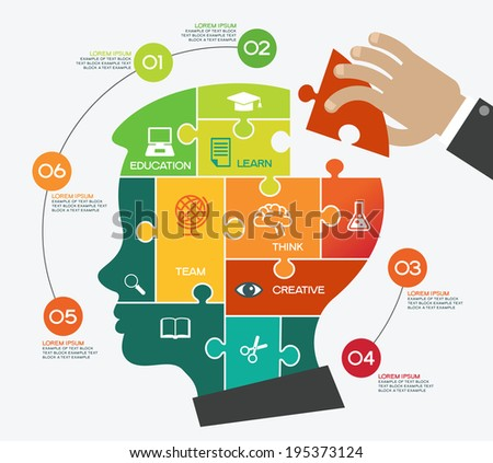 Creative vector template with puzzles, child head, human hand and icons. Concept education ideas. - stock vector