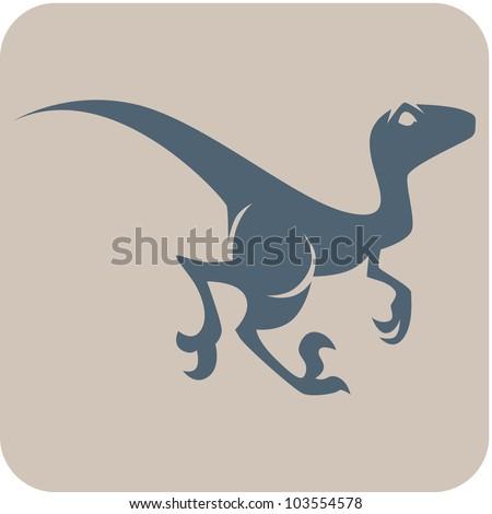 Creative Velociraptor Dinosaur Icon - stock vector