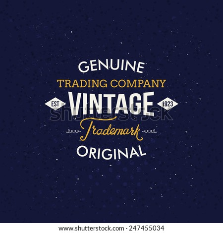 Creative Vintage Label on Dark Blue Background with handwritten elements. Vector illustration. - stock vector