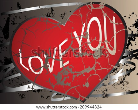 Creative wallpaper with a cracked heart and grunge elements - stock vector