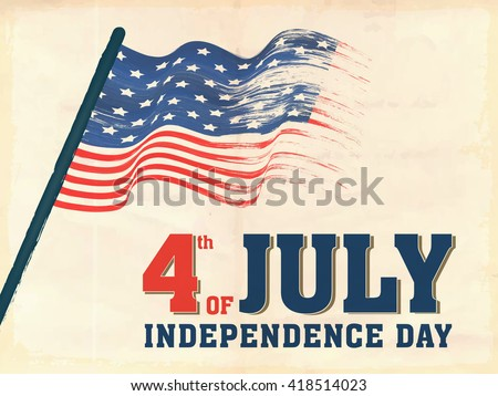 Creative waving American Flag for 4th of July, Independence Day celebration concept.