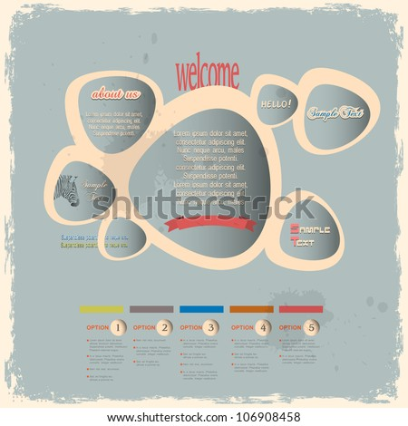 Creative web design bubbles in vintage style. Vector template