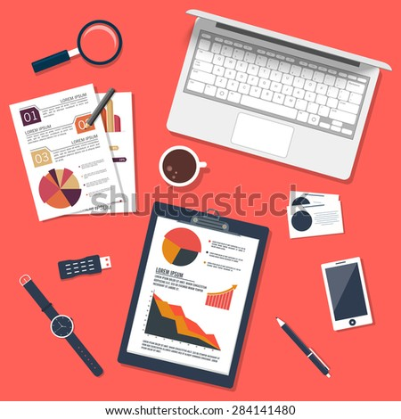 Creative web templates presentation with modern digital devices for business or corporate sector. - stock vector