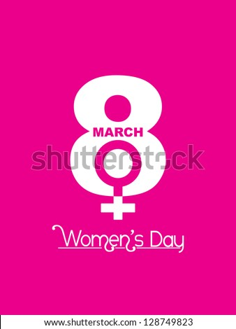 Creative white color design element for women's day on pink color background.