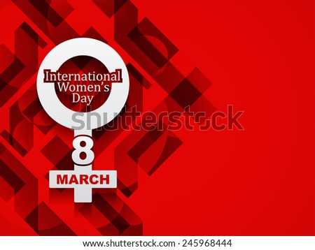 creative white color element design for women's day on modern red color background. vector illustration  - stock vector