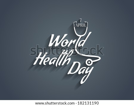 creative white color text design element of world health day. vector illustration - stock vector