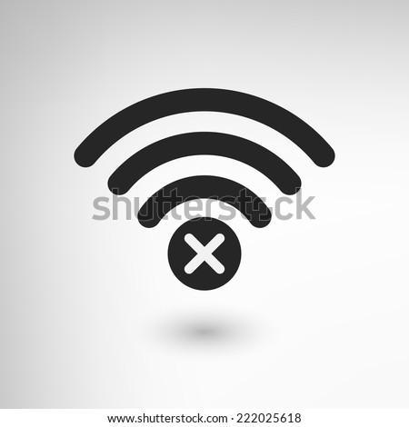Creative WiFi icon with cross element. EPS10 vector. - stock vector