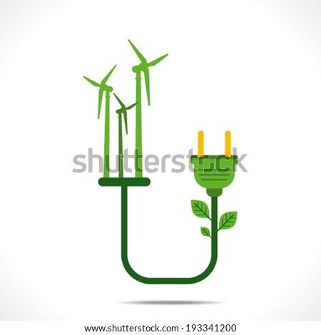 creative wind mill connect to plug,or green energy concept vector - stock vector