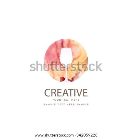 Creative wine glass design - stock vector