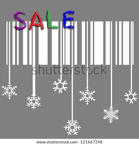 Creative winter sale vector with stylized snowflake and bar-code - stock vector
