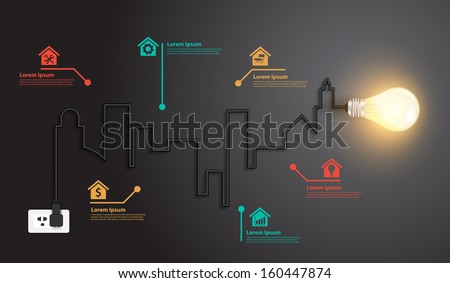 Creative wire light bulb idea buildings and landmarks inspiration concept, Abstract info graphics modern design template workflow layout, diagram, step up options, Vector illustration - stock vector
