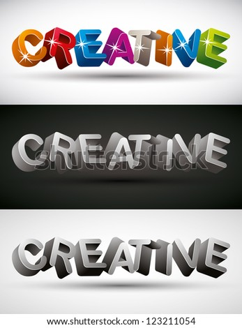 Creative word made with 3d letters, vector set. - stock vector
