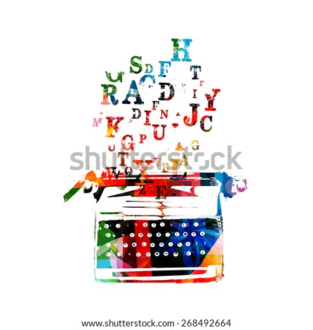 Creative writing on typing machine - stock vector